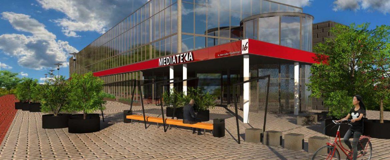 Zagospodarują otoczenie Mediateki – oczko wodne,  ławki i plac zabaw